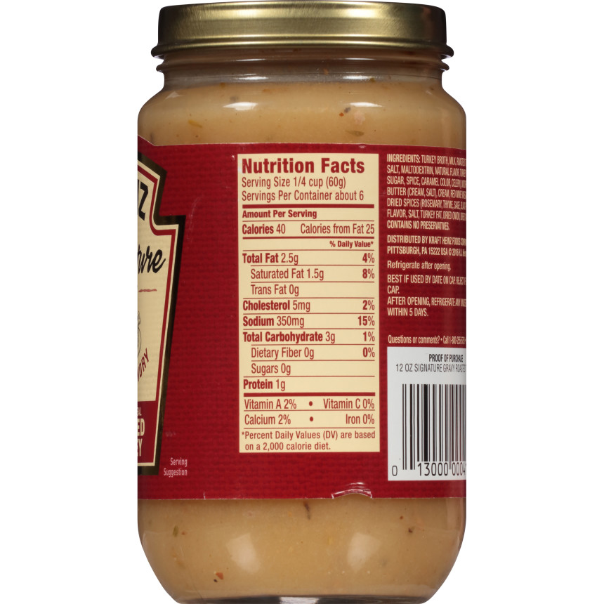 Heinz Signature Roasted Turkey Gravy, 12 oz Jar
