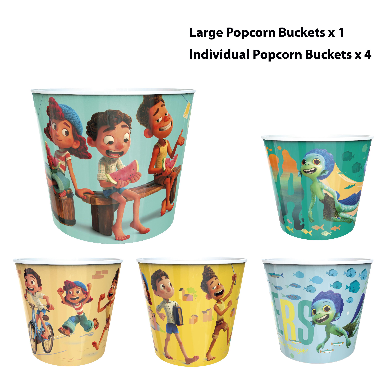 Disney and Pixar Plastic Popcorn Container and Bowls, Luca, 5-piece set slideshow image 4