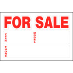 "Automobile For Sale Static Cling Sign, 8"" x 12"""
