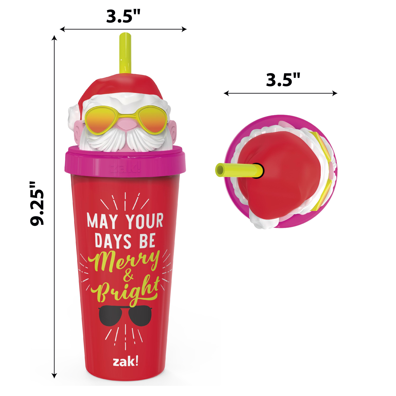 Zak Holiday 18 ounce Reusable Plastic Tumbler, Santa slideshow image 3