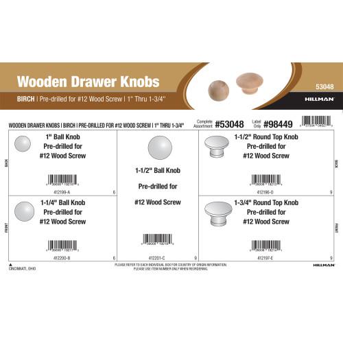 Birch Wooden Drawer Knobs Assortment (1