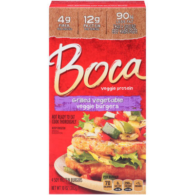 Boca Grilled Vegetable Veggie Burgers 4 count Box