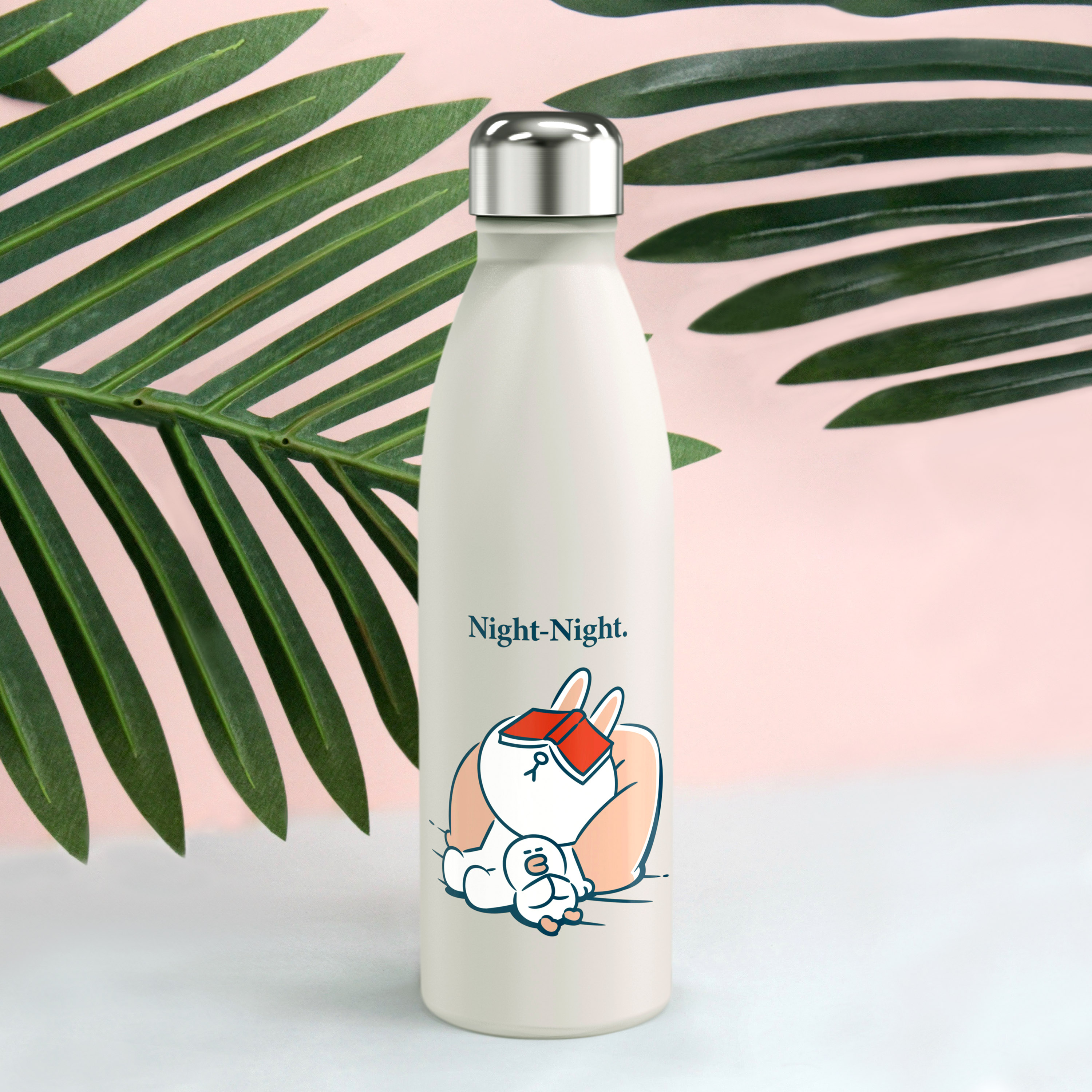 Line Friends 17.5 ounce Vacuum Insulated Stainless Steel Water Bottle, Sleepy Bunny slideshow image 3