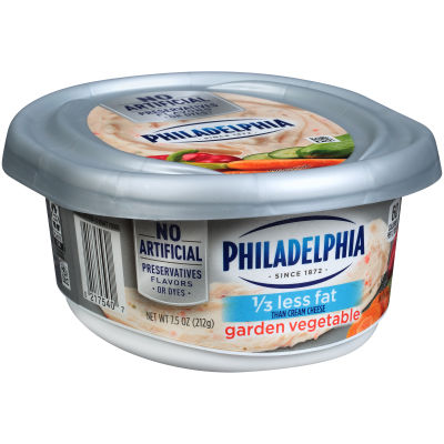 Philadelphia Garden Vegetable 1/3 Less Fat Cream Cheese Spread 7.5 oz Tub