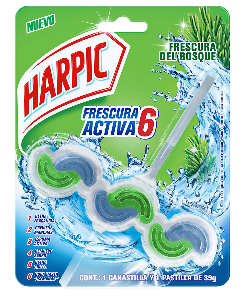 Harpic® Frescura Activa Canastilla Pastilla Aromatizante Para Inodoros, Frescura Del Bosque 39 G