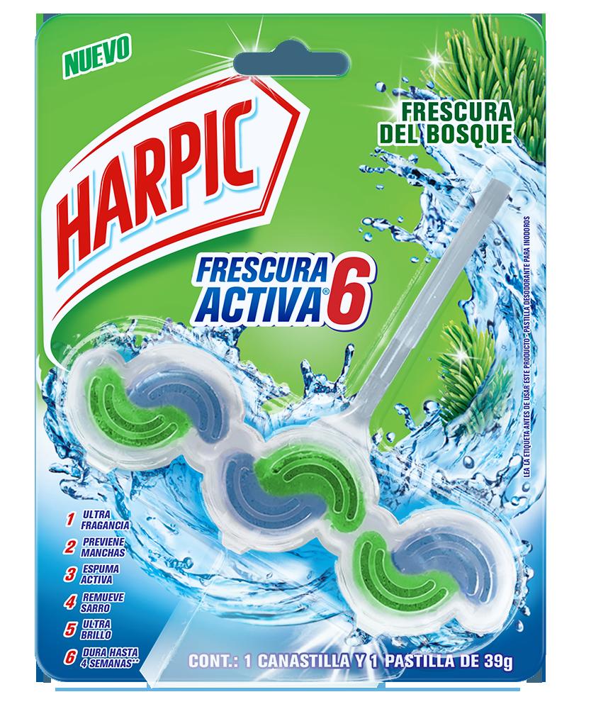 Harpic® FRESCURA ACTIVA Canastilla Pastilla Aromatizante para Inodoros, Frescura del Bosque, 39g