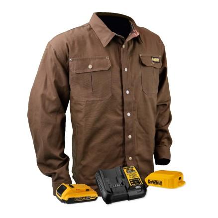 DEWALT® Unisex Heated Heavy Duty Shirt Jacket Kitted Tobacco