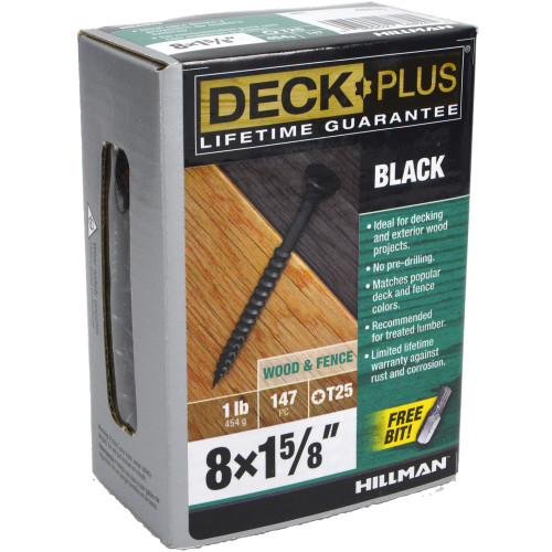 Deck Plus Black Deck Screw - 1lb Box (#8 x 1-5/8