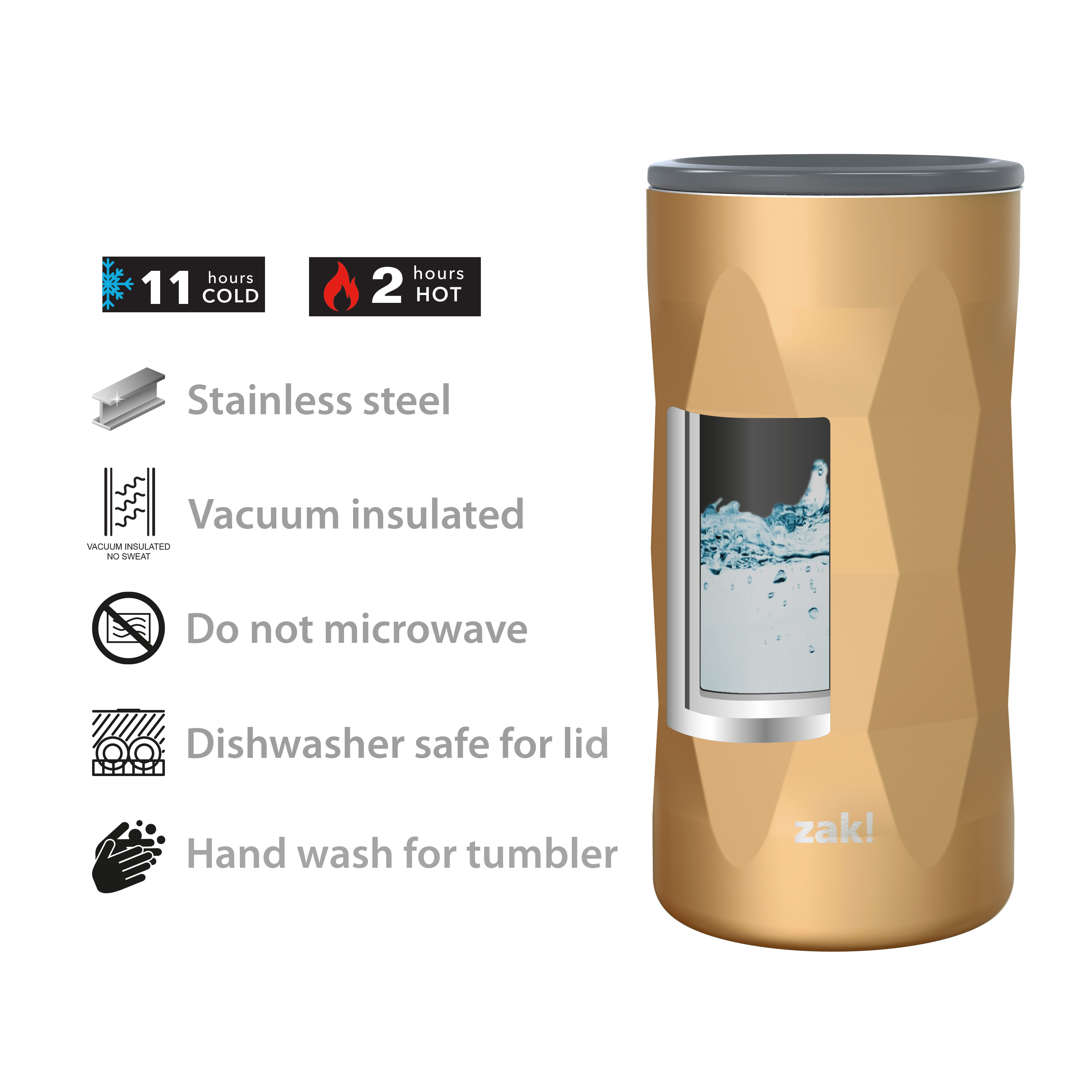 Fractal 12 ounce Vacuum Insulated Stainless Steel Tumbler, Copper slideshow image 7