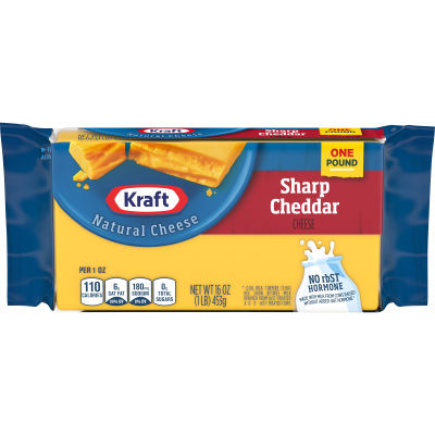 Kraft Sharp Cheddar Natural Cheese 16 oz Wrapper