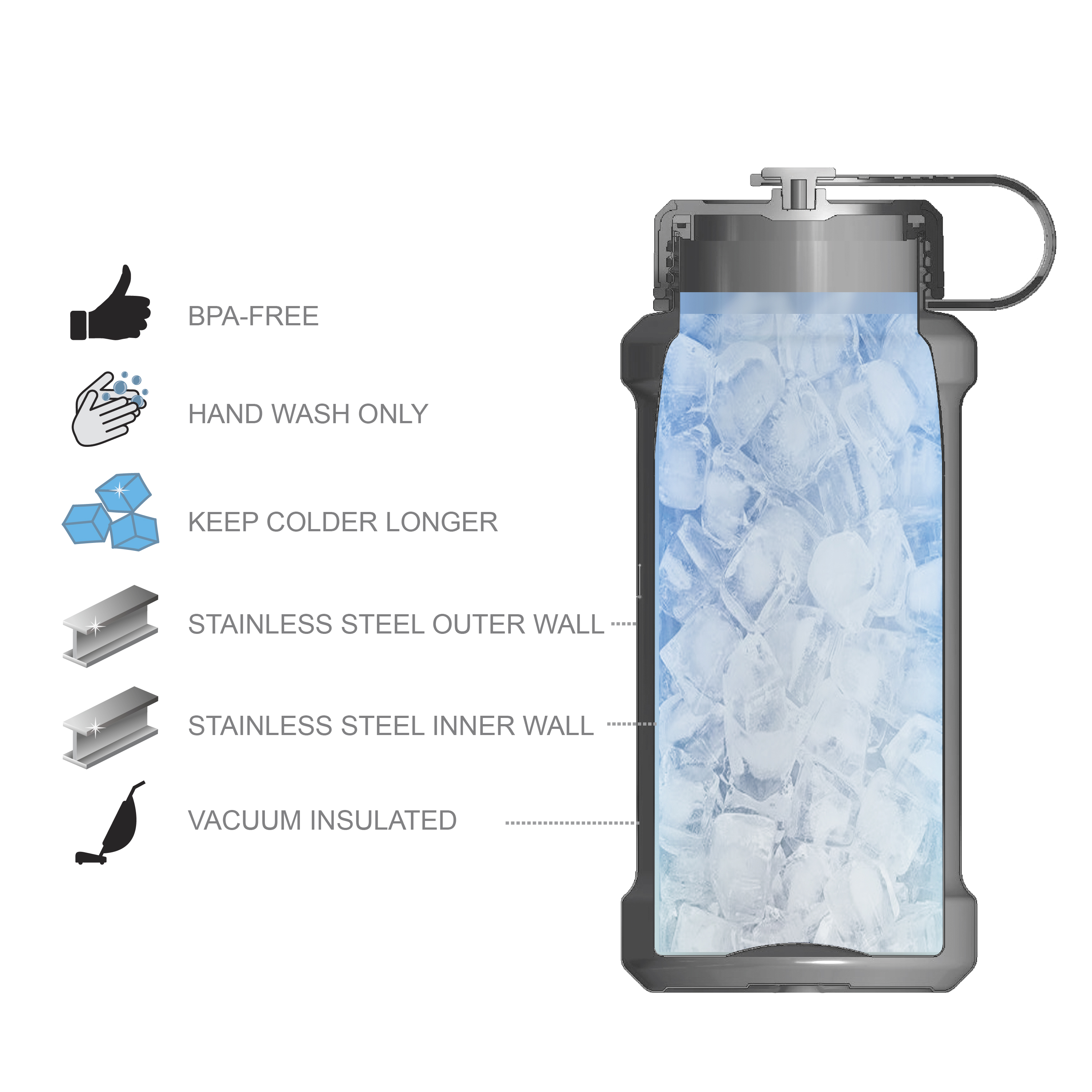 XBOX 24 ounce Stainless Steel Insulated Water Bottle, Halo slideshow image 6
