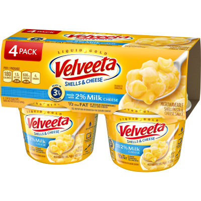 Velveeta Shells & Cheese Made with 2% Milk Cheese, 4 - 2.19 oz Sleeve