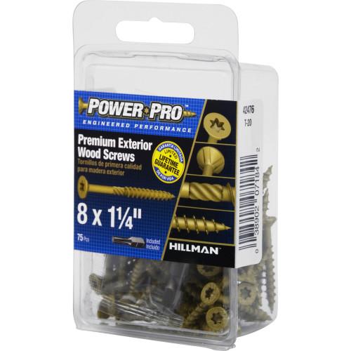 Power Pro Premium Exterior Wood Screw #8 x 1-1/4