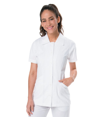Landau Essentials Button Down Scrub Top for Women: Classic Relaxed Fit, Notched Collar, Student Tunic 8051-Landau