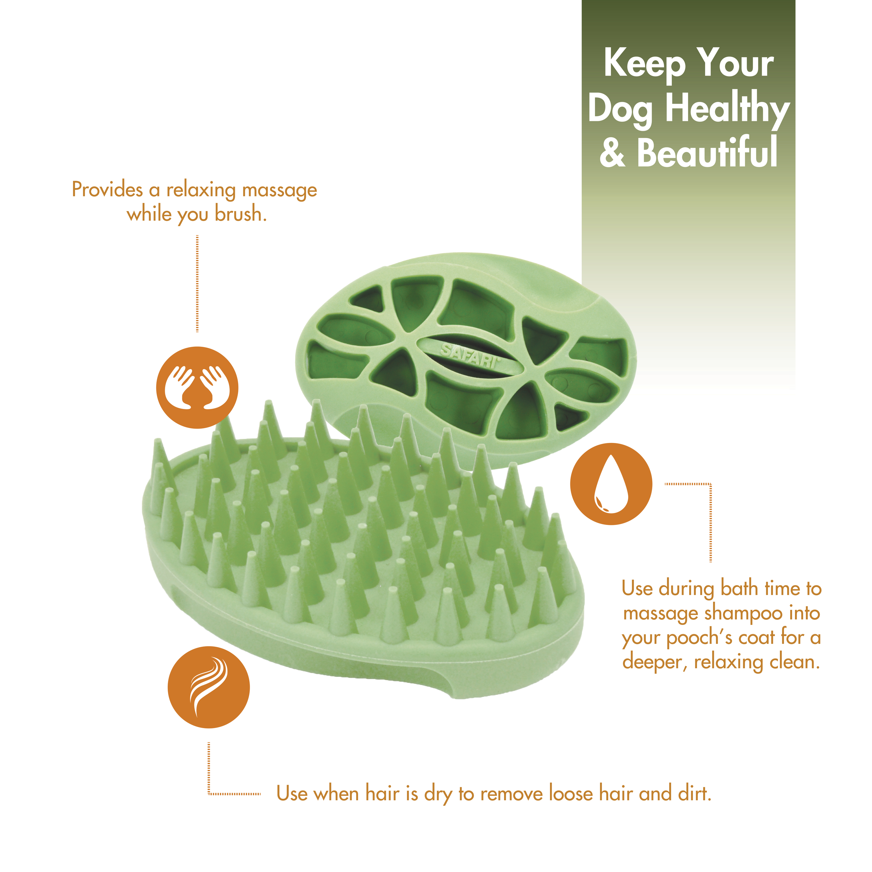 Safari® Soft Tip Curry Brush for Dogs