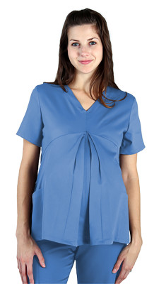 Urbane Essentials 2 Pocket Maternity Scrub Top for Women: 2 Pocket, Classic Relaxed Fit, Pleated Front Medical Scrubs 9599-Urbane