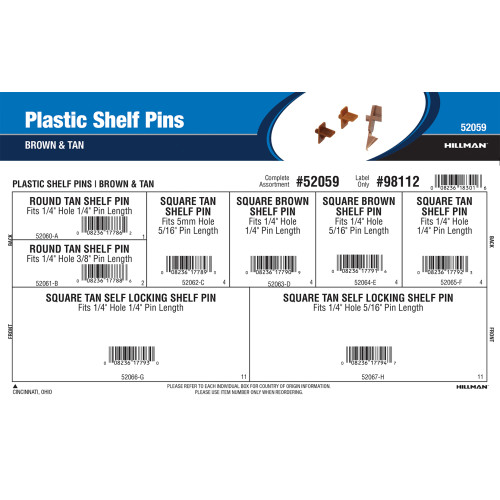 Plastic Shelf Pins Assortment (Brown & Tan Finishes)