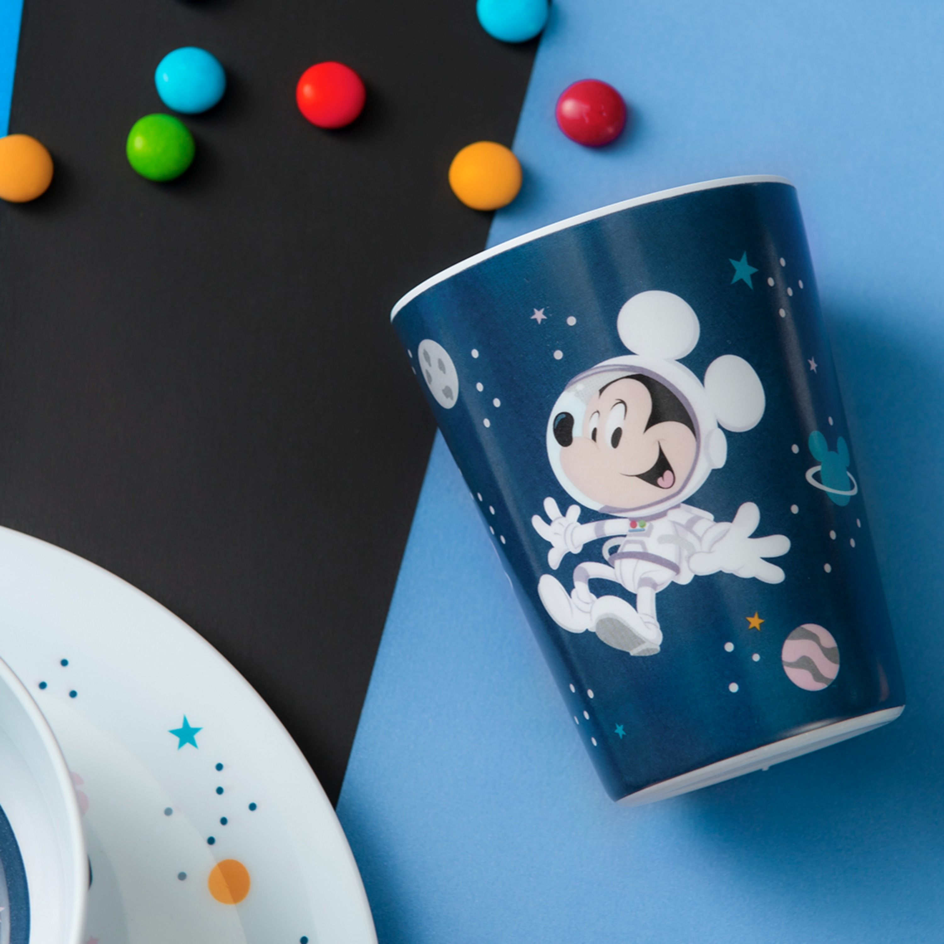 Disney Plate, Bowl, Tumbler and Flatware Set, Outer Space Mickey Mouse, 5-piece set slideshow image 4