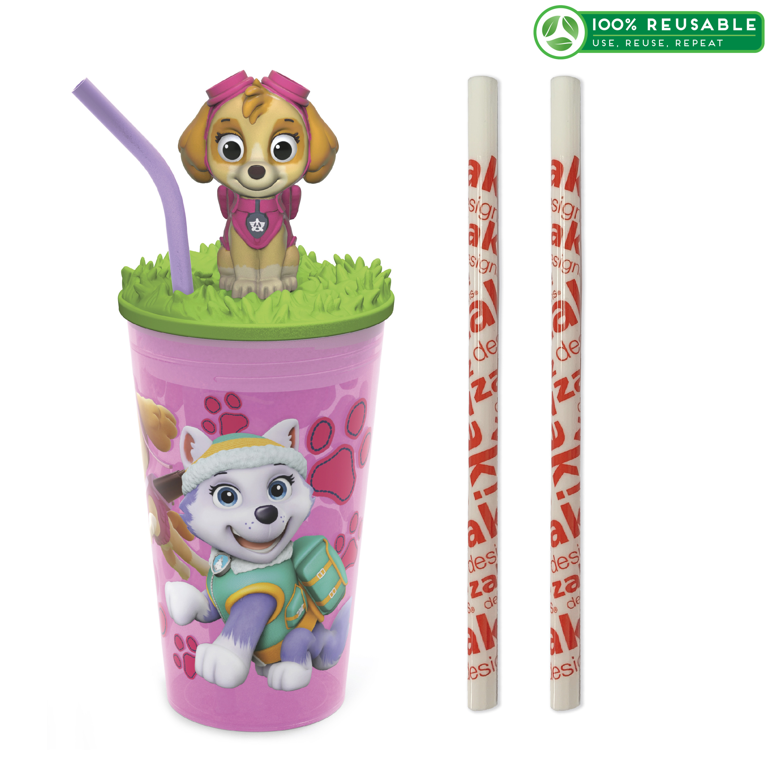 Paw Patrol 15 ounce Kid's Tumbler, Skye, 3-piece set slideshow image 1