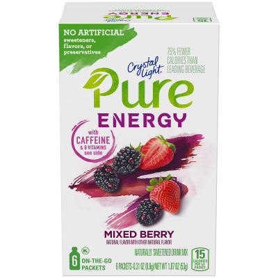 Crystal Light Pure Energy Mixed Berry Drink Mix with Caffeine and B Vitamins 6 - 0.31 oz Packets