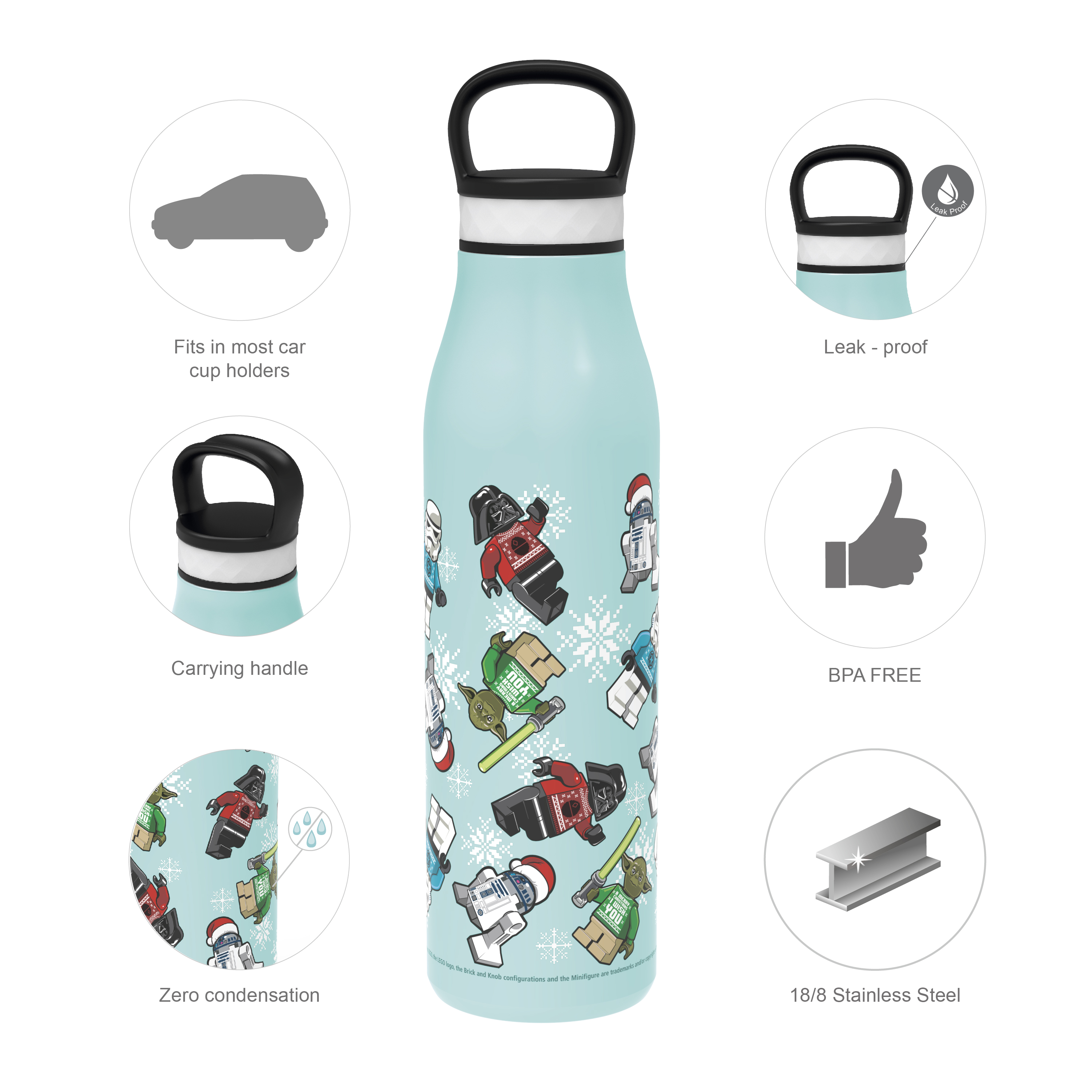 Lego Star Wars 20 ounce Stainless Steel Vacuum Insulated Water Bottle, R2-D2, Yoda and Darth Vader slideshow image 7