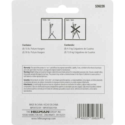 Hillman Zinc Conventional Picture Hanging Kit 30lbs
