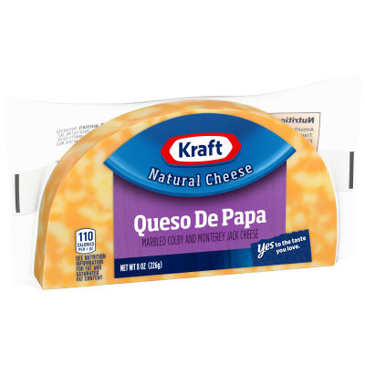 Kraft Queso de Papa Marbled Colby & Monterey Jack Cheese Brick 8 oz Wrapper