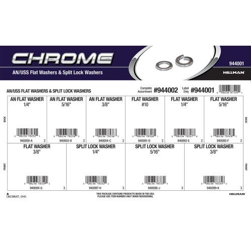 Chrome AN/USS Flat Washers & Split Lock Washers Assortment