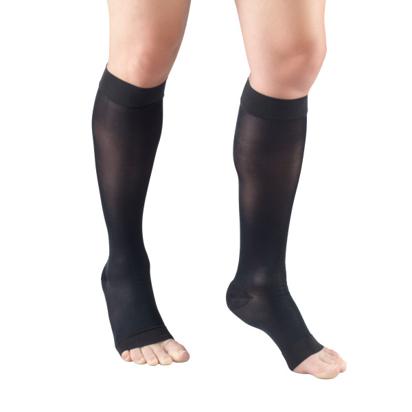1772 Ladies' Below Knee Open Toe Charcoal Sheer Stockings
