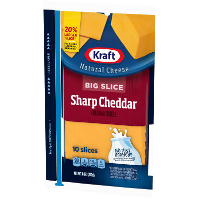 Kraft Big Slice Sharp Cheddar Natural Cheese Slices 10 slices