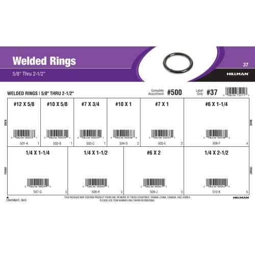 Welded Rings Assortment (5/8