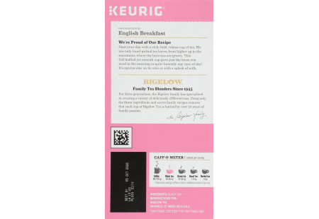 Right side of Keurig Bigelow English Breakfast Tea K-Cups box of 24 - ingredient panel
