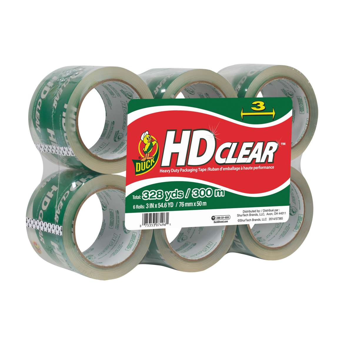 HD Clear™ Heavy Duty Packaging Tape - Clear, 6 pk, 3 in. x 54.6 yd. Image