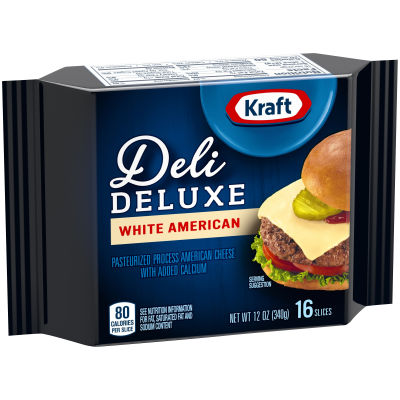 Kraft Deli Deluxe White American Cheese Slices, 12 oz (16 slices)
