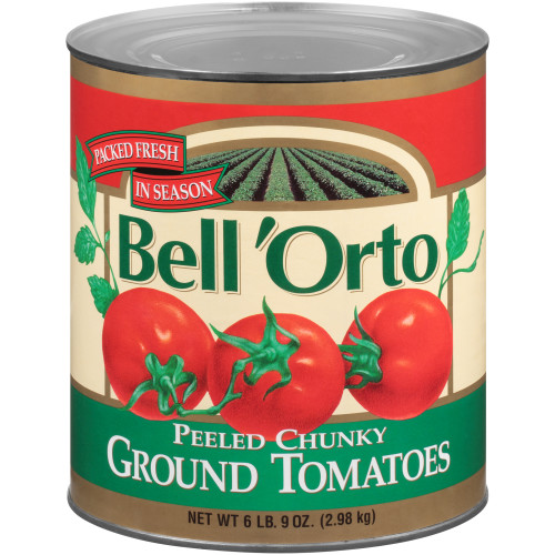 BELL ORTO Peeled Chunky Ground Tomatoes, 105 oz. Can (Pack of 6)