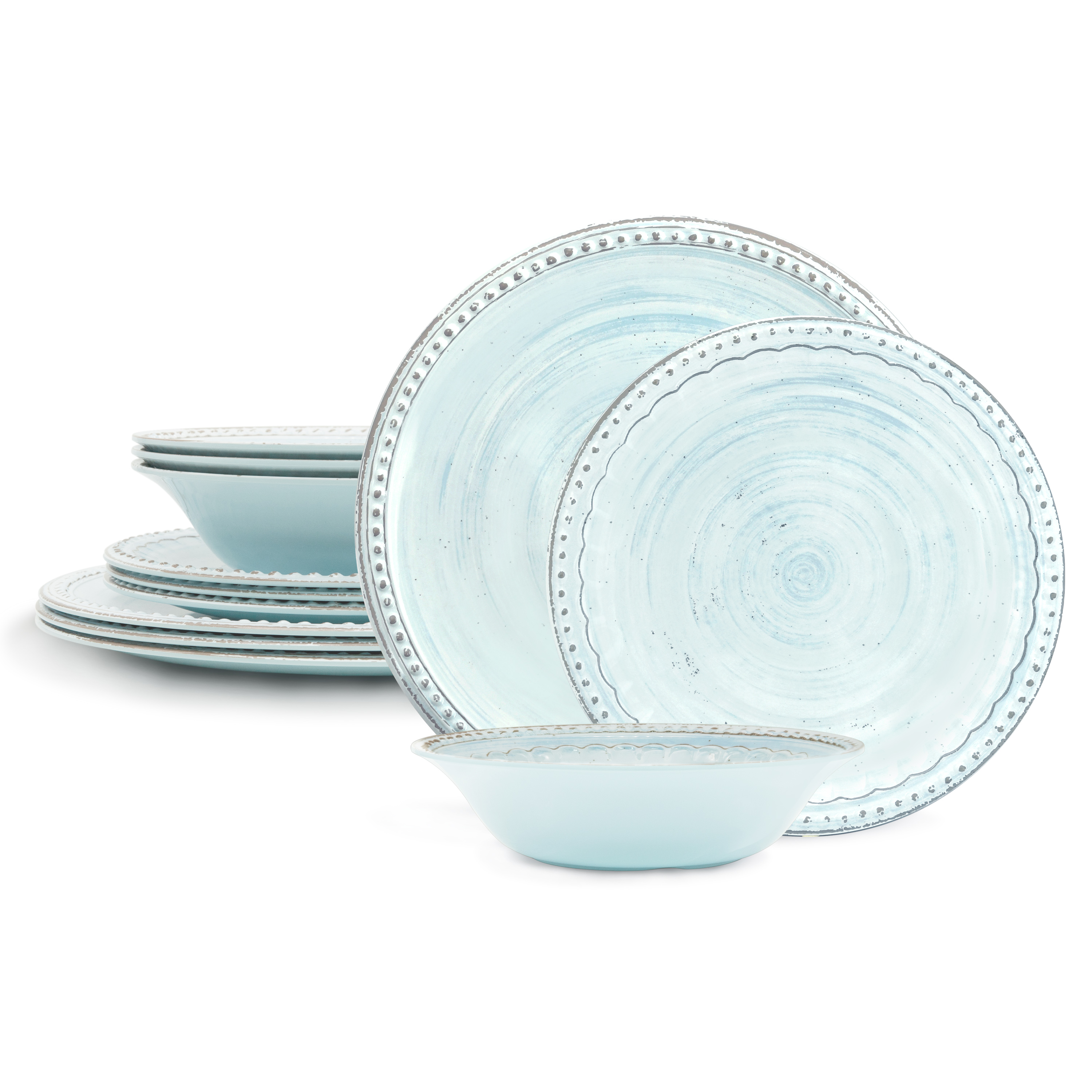 French Country Plate & Bowl Sets, Blue, 12-piece set slideshow image 1