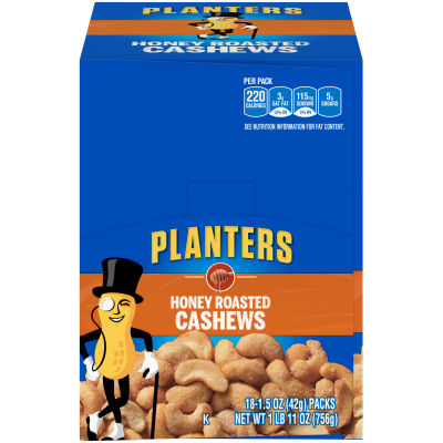 Planters Honey Roasted Cashews 18 - 1.5 oz Bags