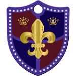 Purple with Gold Fleur De Lis Small Shield Quick-Tag