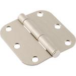 """Hardware Essentials 5/8"""" Round Corner Satin Nickel Door Hinges (3"""")"""
