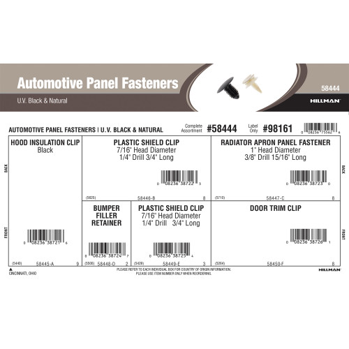 Automotive Panel Fasteners Assortment (Black & Natural White)