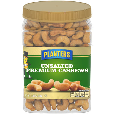 Planters Unsalted Premium Cashews, 33 oz Jar