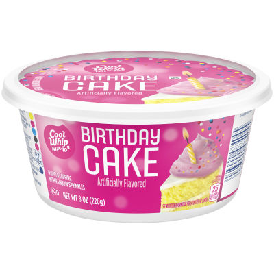 Cool Whip Birthday Cake with Rainbow Sprinkles Frozen Mix Ins, 8 oz Tub