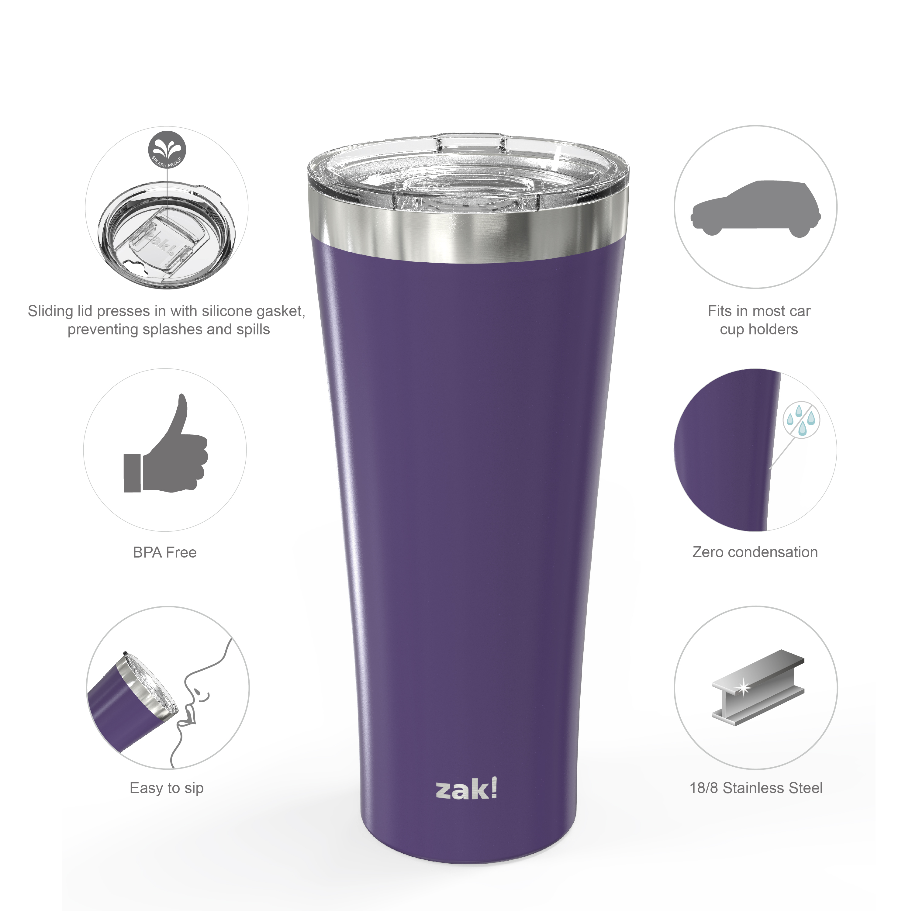 Alpine 30 ounce Stainless Steel Vacuum Insulated Tumbler with Straw, Viola slideshow image 5