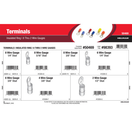 Insulated Ring Wire Terminals Assortment (8 thru 2 Wire Gauges)