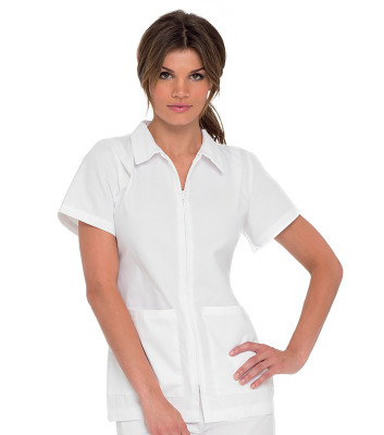 Landau Essentials Scrub Top for Women: Notched Collar, Zip Front, 2 Pocket Medical Student Uniform 8058-