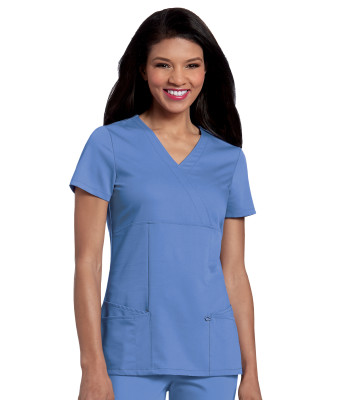 Urbane Ultimate 4 Pocket Mock Wrap Top Scrub Top for Women: Modern Tailored Fit, Luxe Soft Stretch Fabric Medical Scrubs 9038-