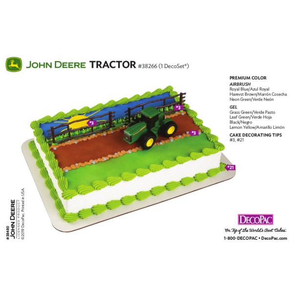 John Deere Tractor Cake Decorating Instruction Card