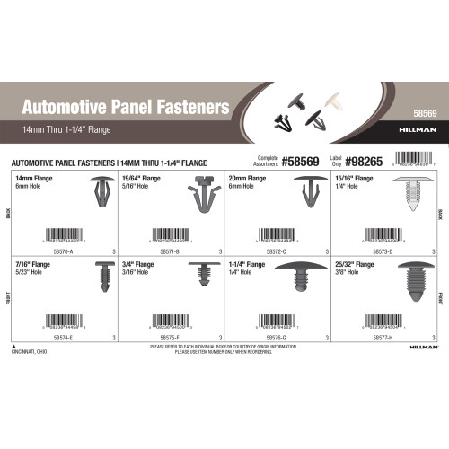 Automotive Panel Fasteners Assortment (14mm thru 1-1/4