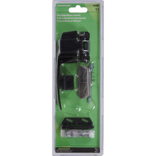 Hardware Essentials Black Pushbutton Latch without Tie Down 1-1/4in