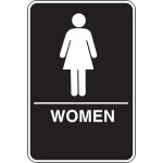 Women's Restroom Adhesive Sign with Braille